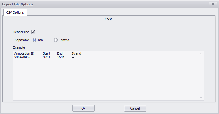 Export CSV File Options